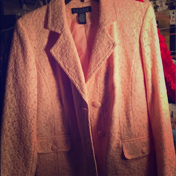 Dialogue Jackets & Blazers - Peach blazer with texted flower design